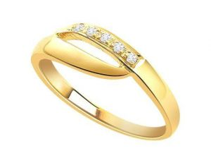 Ag Real Diamond Five Stones Band Shape Ring