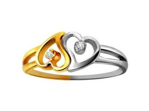 Ag Real Diamond Two Stones Heart Shape Ring