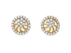 Avsar,Ag,Lime,Kalazone Gold Jewellery - Avsar Real Gold and Diamond Stunning Fancy Earring