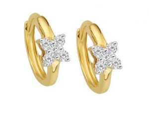 Avsar Real Gold And Diamond Flower Earrings