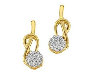 Avsar Real Gold And Diamond Spoon Shape Earrings