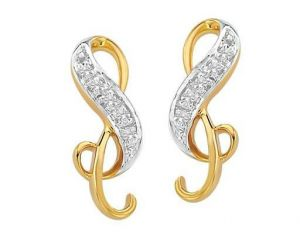 Avsar Real Gold And Diamond Rebbin Shape Earrings