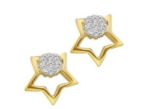 Avsar Real Gold And Diamond Star Shape Earrings