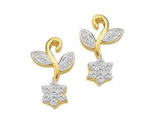 Avsar Real Gold And Diamond Fancyflower Earrings