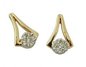 Avsar Real Gold And Diamond Fashion Hoop Earrings