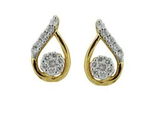 Avsar Real Gold And Diamond Flower Flame Earrings