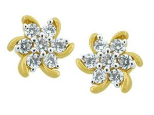 Avsar Real Gold And Diamond Divine Flower Earring