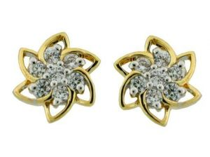 Avsar Real Gold And Diamond Fancy Flower Earrings