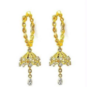 La Intimo,Shonaya,Avsar,Estoss Gold Jewellery - Avsar Real Gold Diamond Zig Zag EARRING AVE0161
