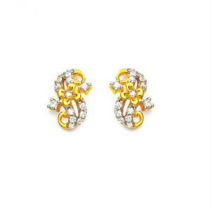 Avsar Real Gold Diamond Simple Earring Ave0162