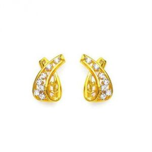 Avsar Real Gold And Diamond Trendy Earring Ave0163