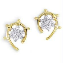 Avsar Real Gold And Diamond Stone Fancy Earring