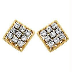 Kiara,La Intimo,Shonaya,Avsar Diamond Jewellery - Avsar Real Gold and Diamond Fancy Square Earring