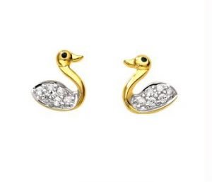 Avsar Real Gold And Diamond Fancy Duck Earring