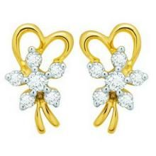 Avsar Real Gold And Diamond Ribbon Earring Ave050