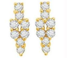 Avsar Real Gold And Diamond Flower Bouquet Earring