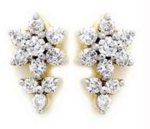 Avsar Real Gold & Diamond Beautiful Flower Earring