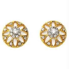 Avsar Real Gold & Diamond Flower Earrings