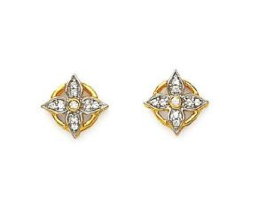 Avsar Real Gold And Diamond Flower Shape Earring