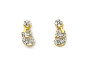 Avsar,Ag,Triveni,Flora,Cloe,Kaamastra Women's Clothing - Avsar Real Gold and Diamond Traditional Earring
