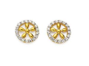 Avsar Real Gold & Dia. Traditional Flower Earring