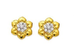 Avsar Real Gold And Diamond Beautiful Rose Earring