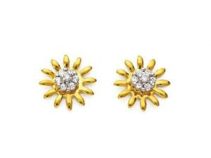 Avsar Real Gold And Diamond Beautiful Sun Earring