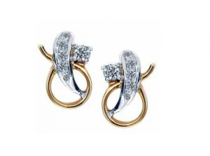 Rcpc,Ivy,Avsar,Soie,Bikaw Women's Clothing - Avsar Real Gold and Diamond Fancy Shape Earring
