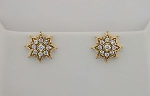 Avsar Real Gold And Diamond Beautiful Earrings
