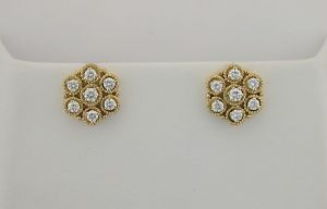 Avsar Real Gold & Diamond Circular Earrings