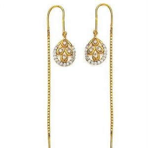 La Intimo,Shonaya,Avsar,Estoss Gold Jewellery - Avsar Real Gold Diamond Classic EARRING AVE0159
