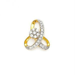 Avsar Real Gold And Diamond Twisty Pendant Avp0143