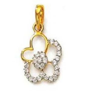Avsar Real Gold Diamond Heart & Flower Pendants