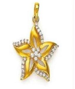 Avsar Real Gold & Diamond Beautiful Flower Pendant