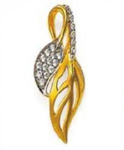 Avsar Real Gold And Diamond Beautiful Leaf Pendant