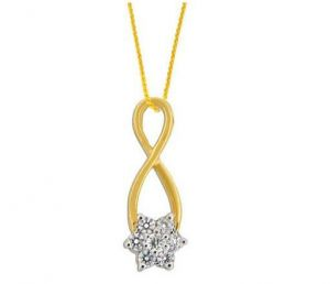 Avsar Real Gold And Diamond Swirl Flower Pendant