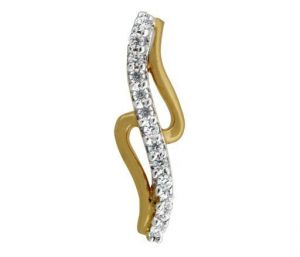 Avsar Real Gold And Diamond Ribon Shape Pandant