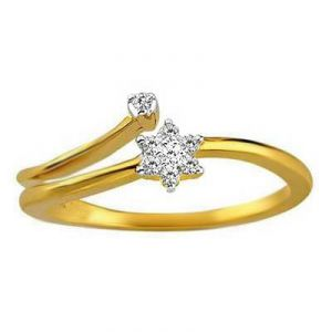 Flower With A Small Bead Diamond Ring Avr117