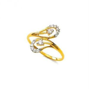Avsar Real Gold And Diamond Trendy Ring Avr141