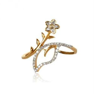 Avsar Real Gold And Diamond Flower Ring Avr166