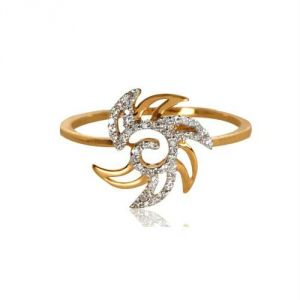 Avsar Real Gold And Diamond Twisty Ring Avr167