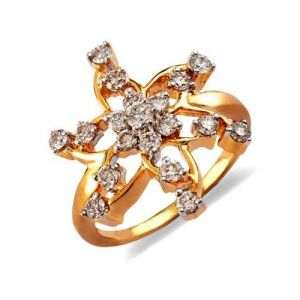 Avsar Real Gold And Diamond Star Shape Ring Avr169