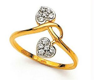 Avsar Real Gold And Diamond Twins Heart Shape Ring