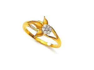 Avsar Real Gold And Diamond Flower With Leave Ring