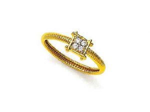Avsar Real Gold And Diamond Square Four Stone Ring