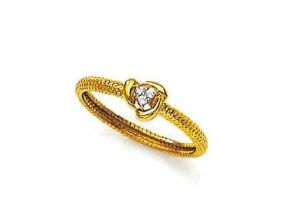 Avsar Real Gold And Diamond Three Stone Round Ring