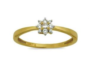Avsar Real Gold And Diamond Flower Shape Ring
