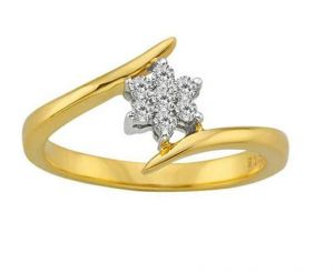 Avsar Real Gold And Diamond Angled Flower Ring
