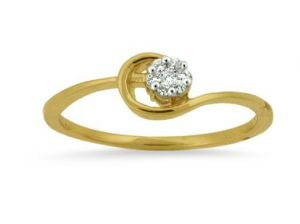 Avsar Real Gold And Diamond Curved Pressure Ring