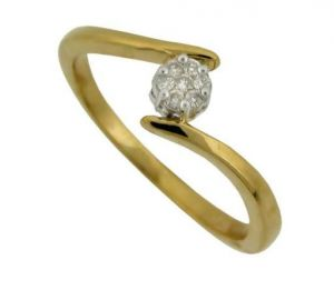 Avsar Real Gold And Diamond Angled Pressue Ring